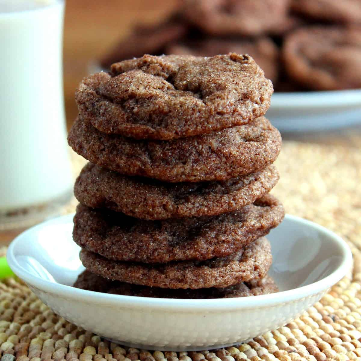 Close-up square photo of a stack of vegan double chocolate chip cookiesin a small white bowl next to a glass of dairy-free milk.