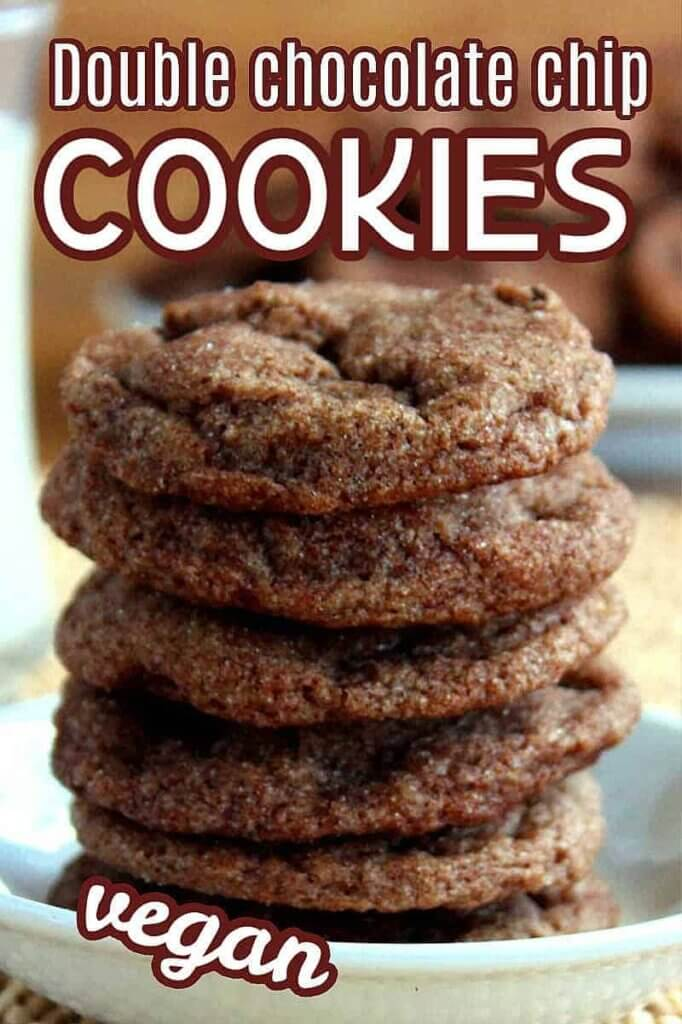 Close up stack of cookies with text above and below for Pinterest.
