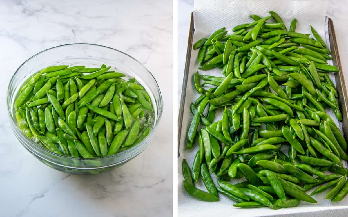 Two photos of the process for preparing sugar snap peas for sauteeing.