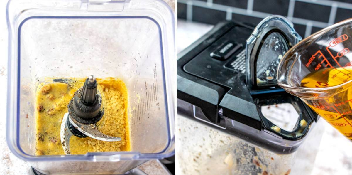 Two process photos of a blender loaded with ingredients and then showing the oil being poured into the blender opening.