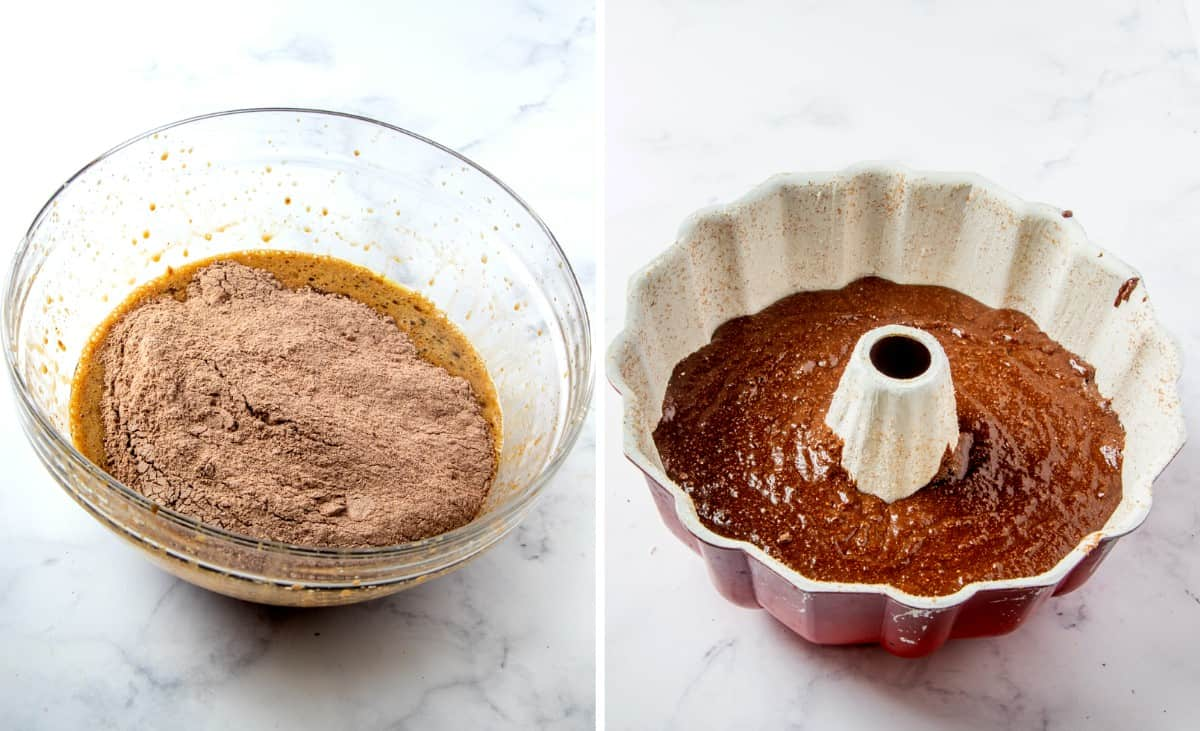 Two process photos - one with a bowl just being mixed with the final ingredients and the bundt pan full of batter.