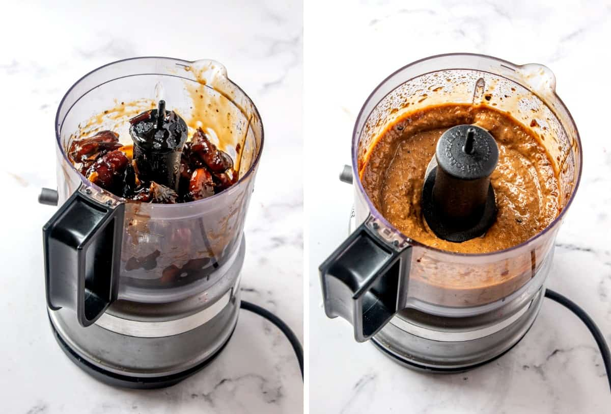 Two process photos showing dates in a food processor with before and after pictures. PIctures as whole dates and then blended.