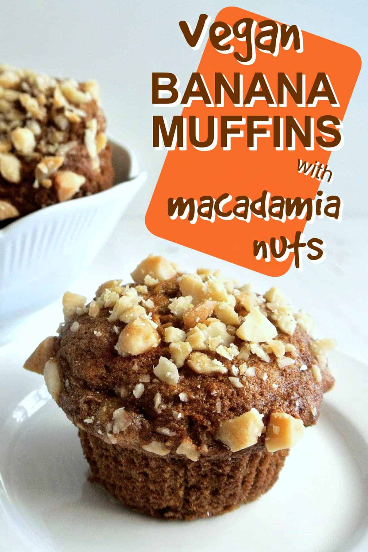 Center vegan banana muffin sprinkled with chopped nuts against a white background. Text above with orange overlay for pinning.