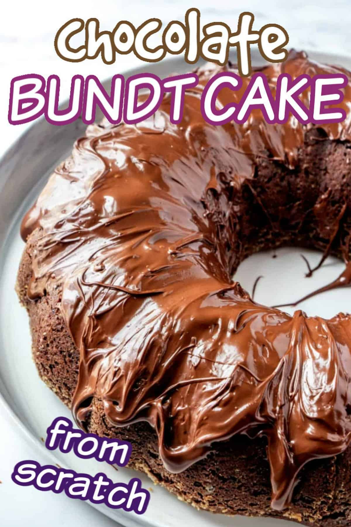 Full vegan chocolate bundt cake cropped with text for pinning to Pinterest.