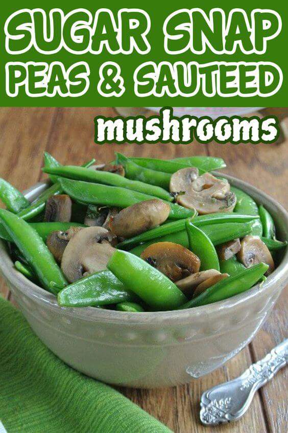 A Beige bowl full of bright green snap peas and mushrooms with green printing above for pinning.