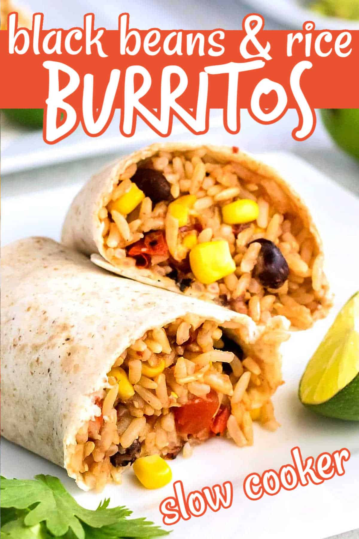 Two burritos are broken open and are overlapping each other to show the filling inside. All is on a white plate with limes and parsley around.