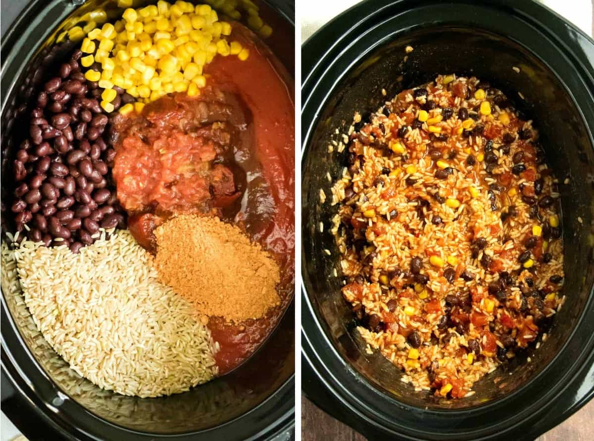 Looking down into tho black oval crockpots with the ingredients just being placed for cooking and then the finished product.