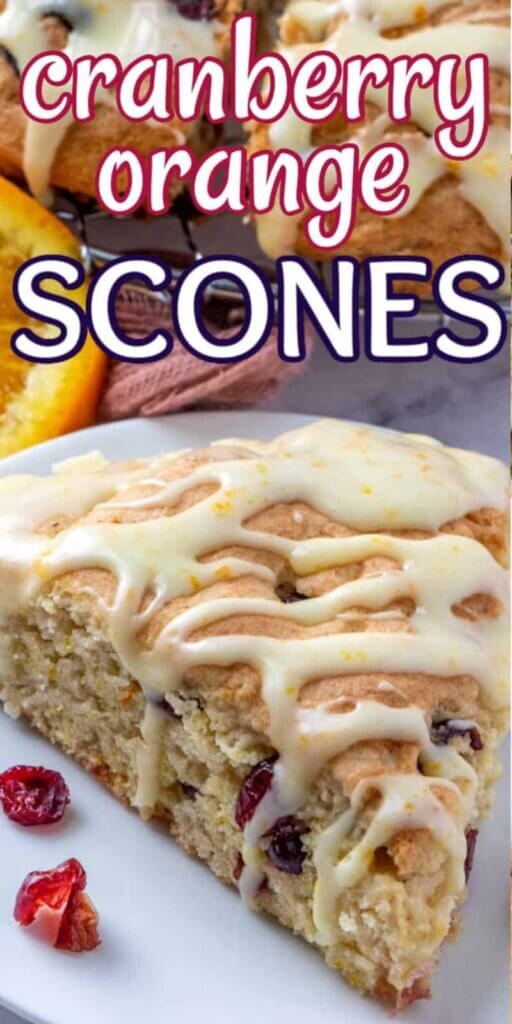 One scone slice is centered up close with icing drizzles back and forth and clearly showing the mist texture. Text above for pInning.