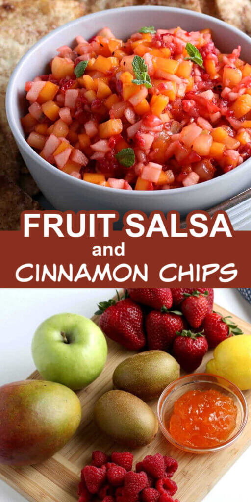 Two photos one above the other with colorful fruit salsa in a bowl above and the fresh fruit before being chopped below.