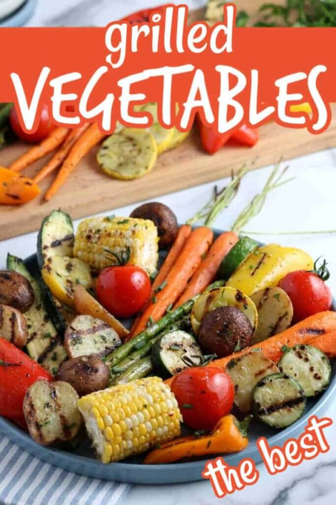 Close up tilted platter full of a hearty side dish on a striped napkin with text for pinterest.