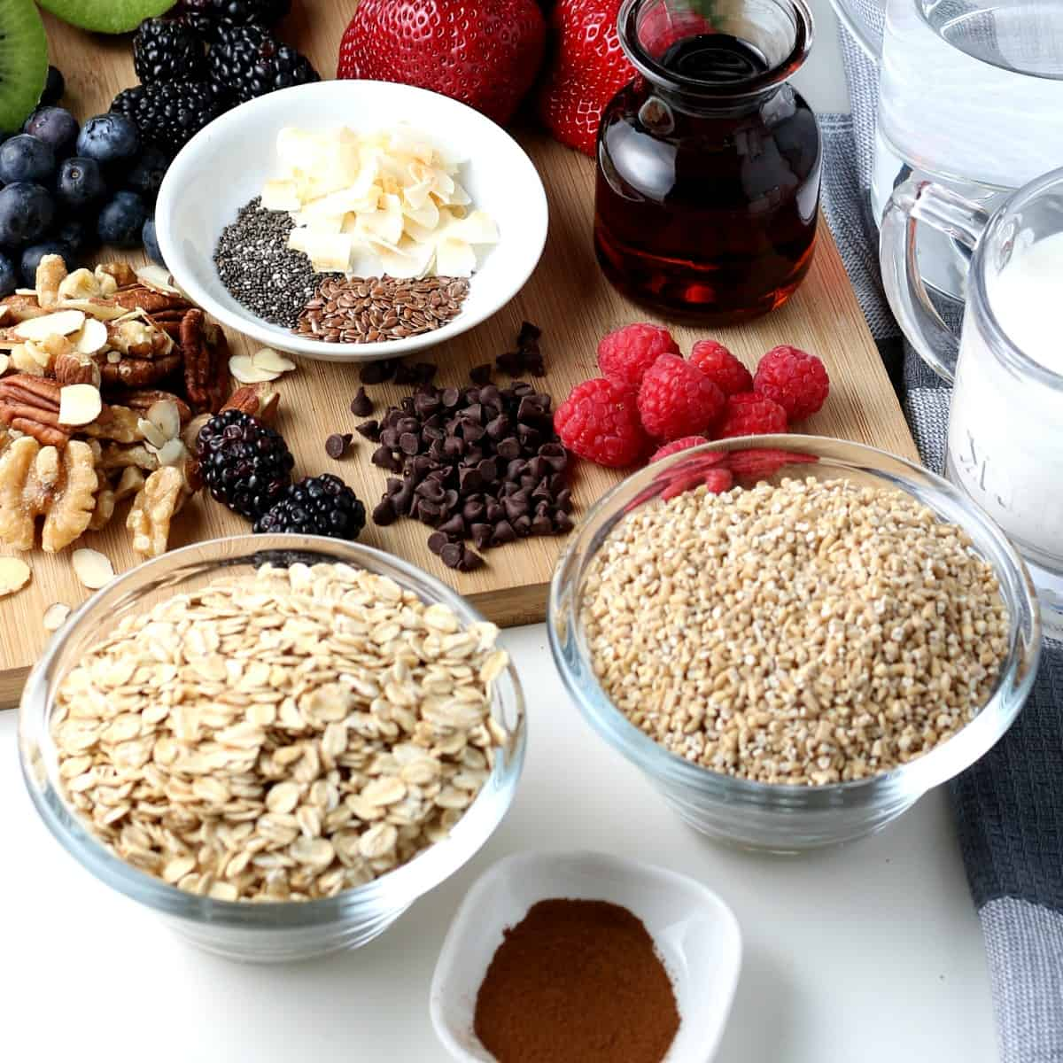 Angled photo of all of the ingredients for instant pot oatmeal including the fruit toppings.