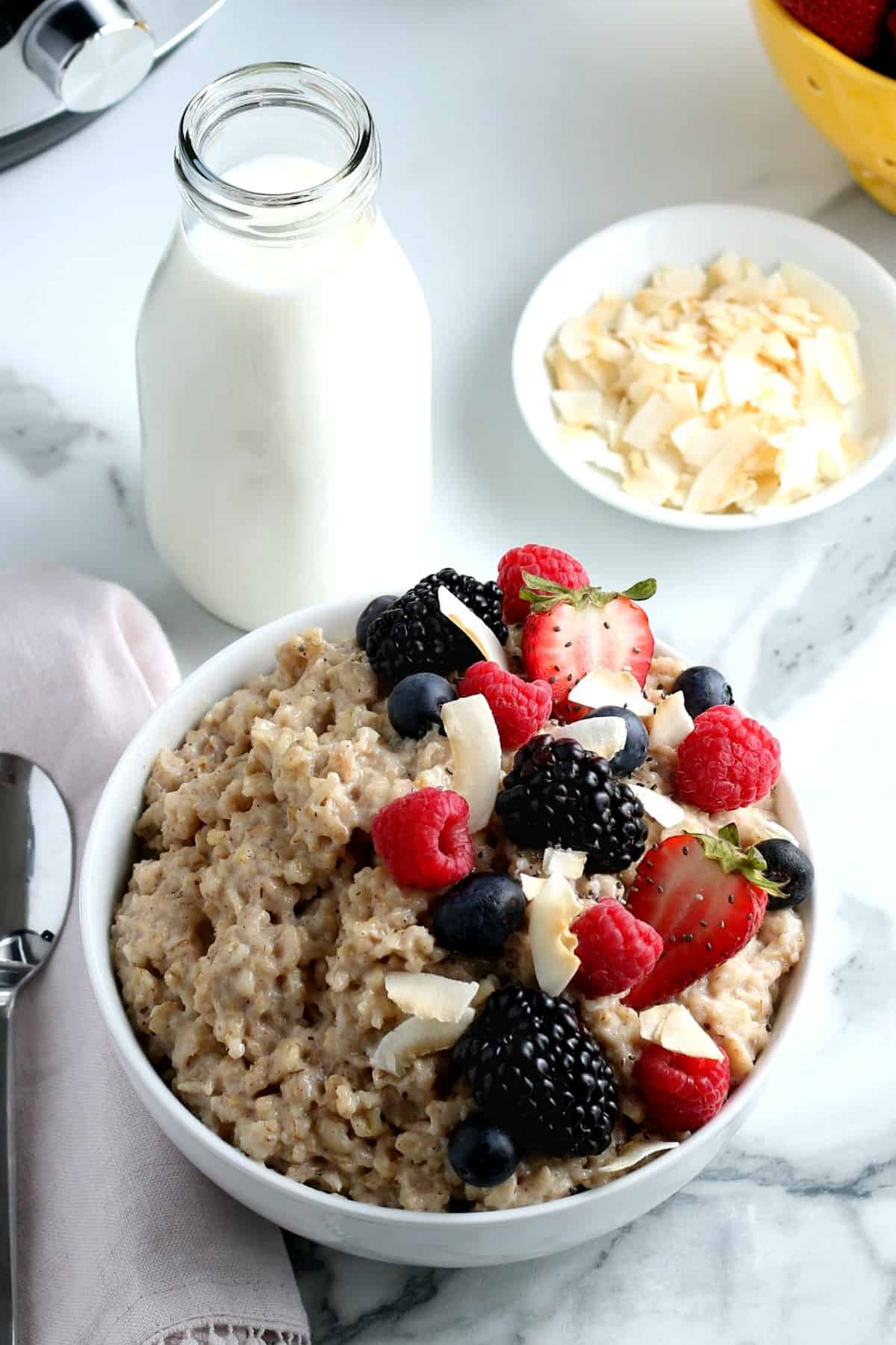 A centered white bowl filled with breakfast and berries with dairy-free milk and coconut on the side.
