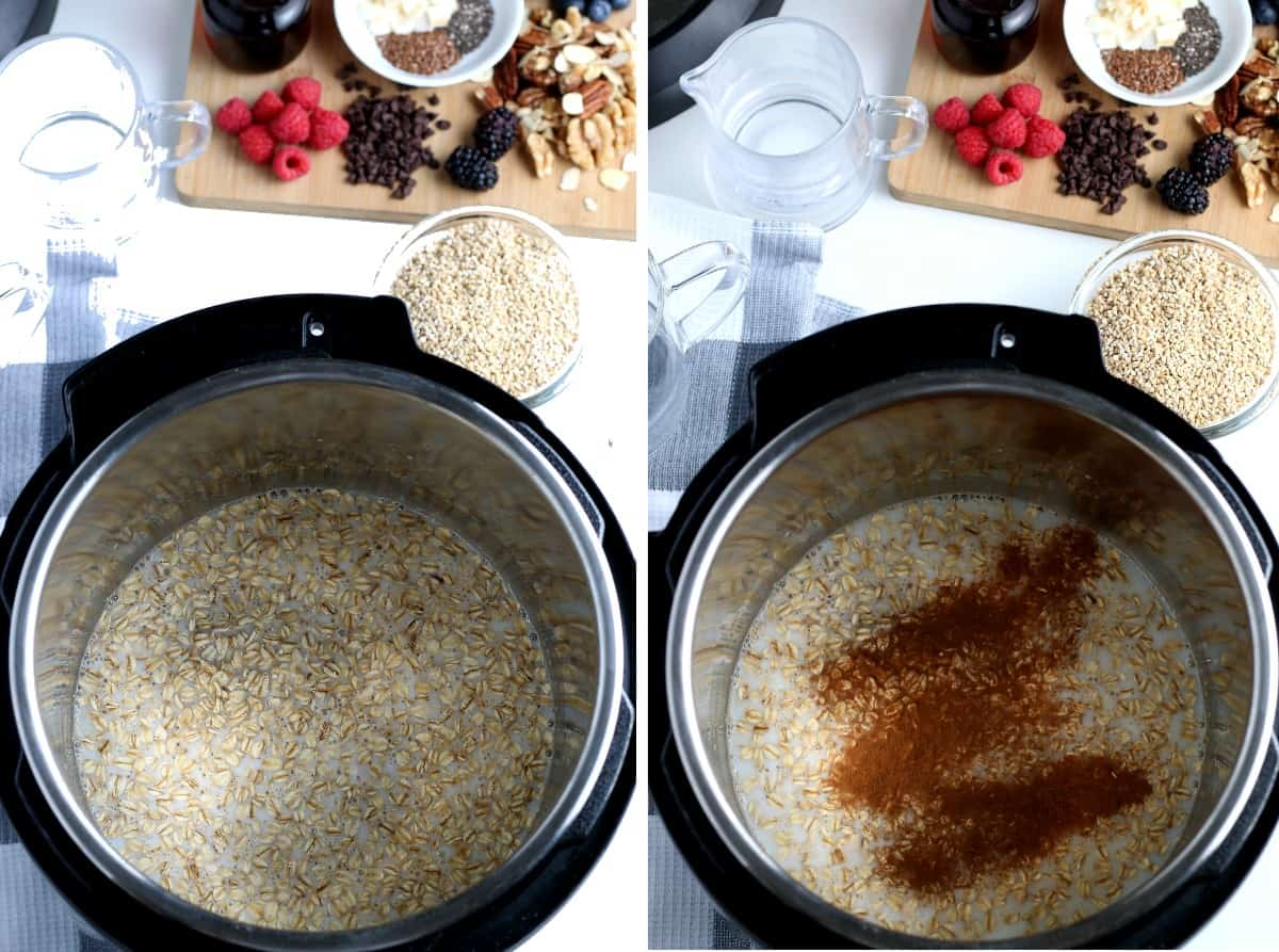 Two process phoots ;ooling down into an instant pot with oats, dairy free milk and water on the left and cinnamon on the right.