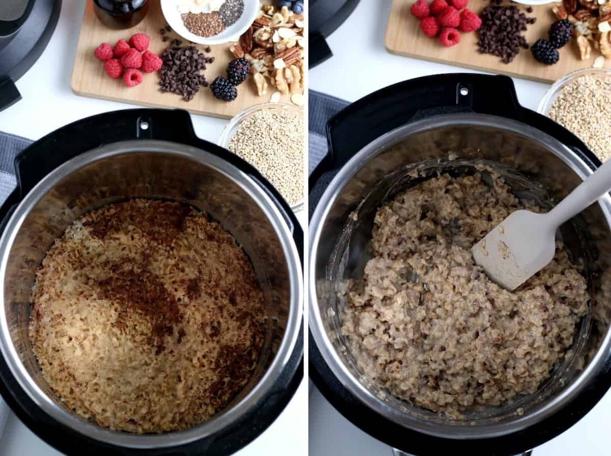 Overhead view of two photos of instant post oatmeal cooking and then fluffed.