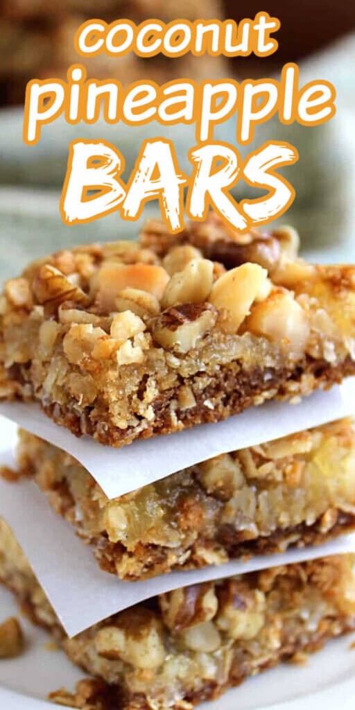 Closeup stack of three golden squares with a crumb crust and nuts on top. Texting above for pinning.