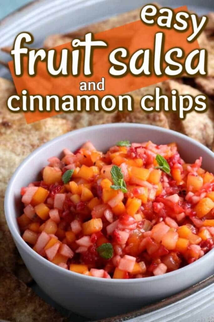 Close view of fruit salsa piled up in a bowl with cinnamon chips behind. Text above for pinterest.