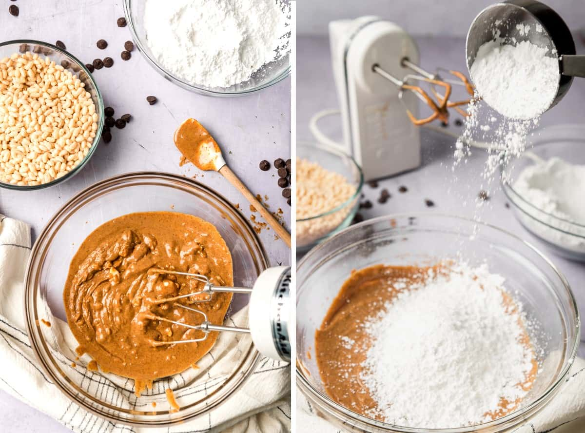 Two process photos showing blending the melted dairy free butter with the peanut butter and then adding in the powdered sugar.