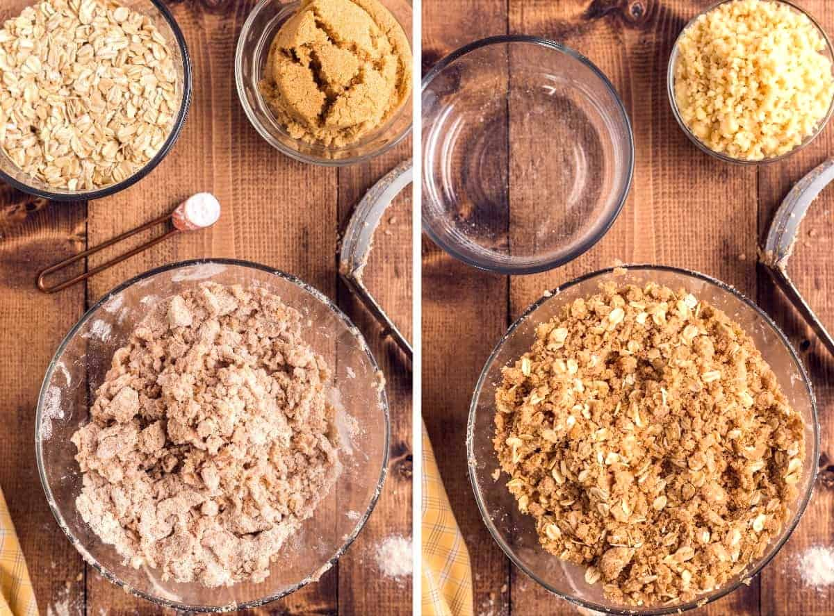 Two process photos showing the dairy free butter cut into the flour and then mixed with added oats