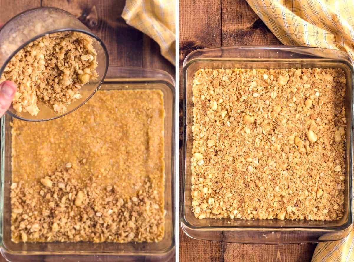 Two process photos showing the final oats layer being spread evenly over the center fruit layer and then lightly press into the top.
