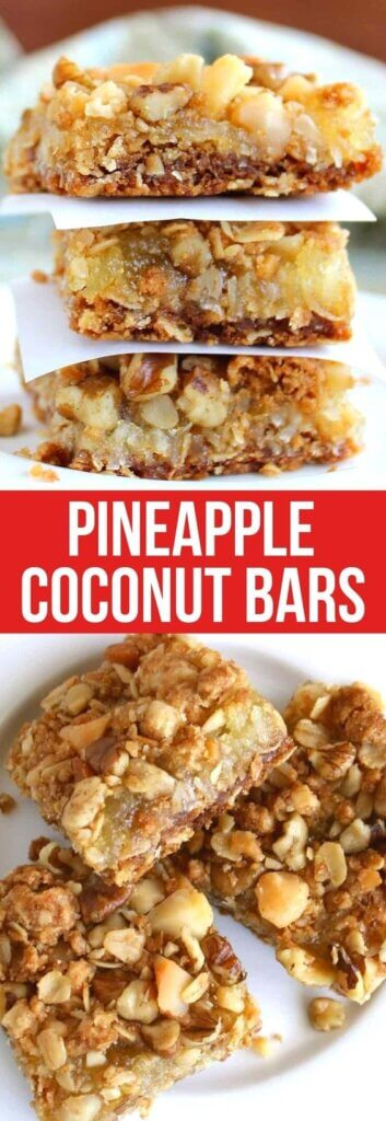 Photos with pineapple coconut bars stacked and also spread out on a plate.