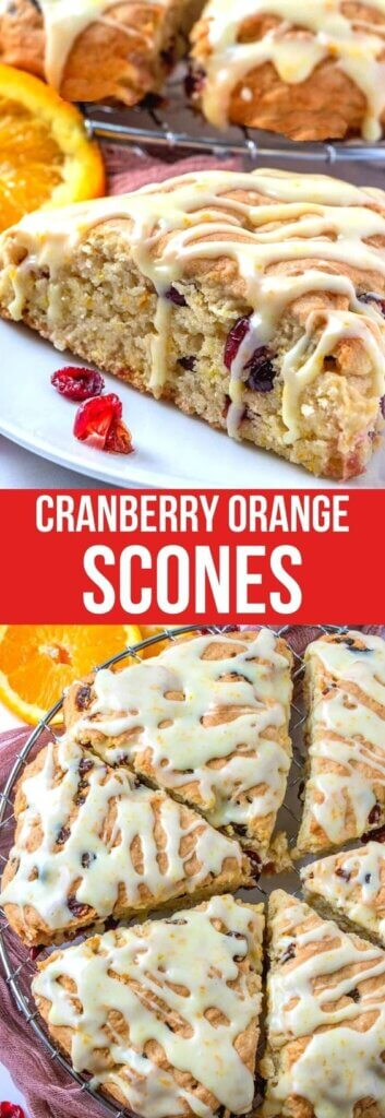 Traingle orange cranberry scones drizzled with orange zest icing.