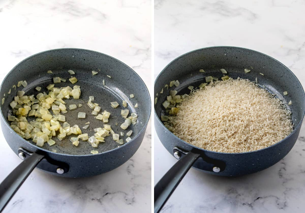 Two photos showing the process of sautéing onion and then adding the rice to sauté.