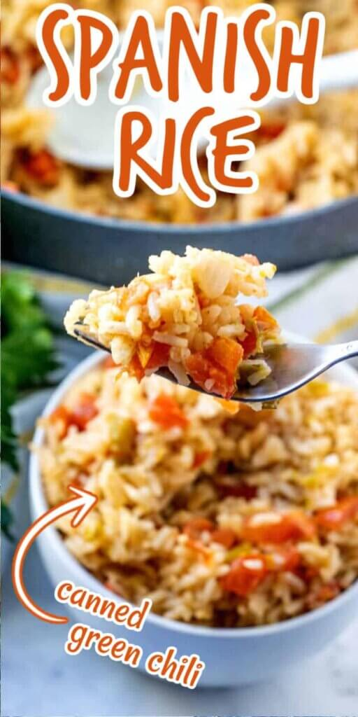 An extra long photos of a white bowlful of Spanish rice with a forkful being held close to the camera lens. Text above for pinning.