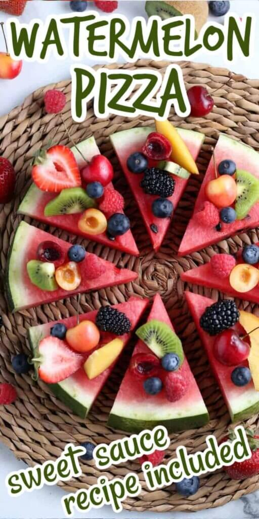 Round 2 inch thick slice of watermelon dotted with fresh fruit and cut into pizza shaped slices. Text above and below for pinning.