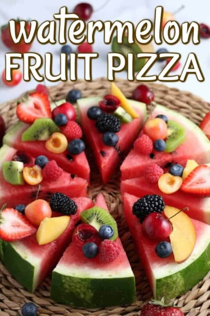 Round 2 inch thick slice of watermelon dotted with fresh fruit and cut into pizza shaped slices.