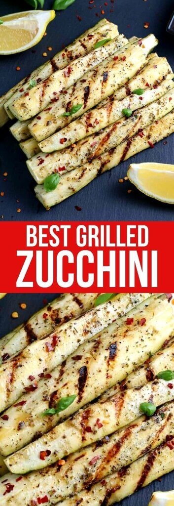 Two photos one above the other of a pyramid of zucchini spears with fresh grill marks. Text in the center on red.
