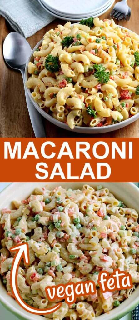 Two photos one above the other with a bowl of macaroni salad in one a the other salad has just been tossed with no feta yet.