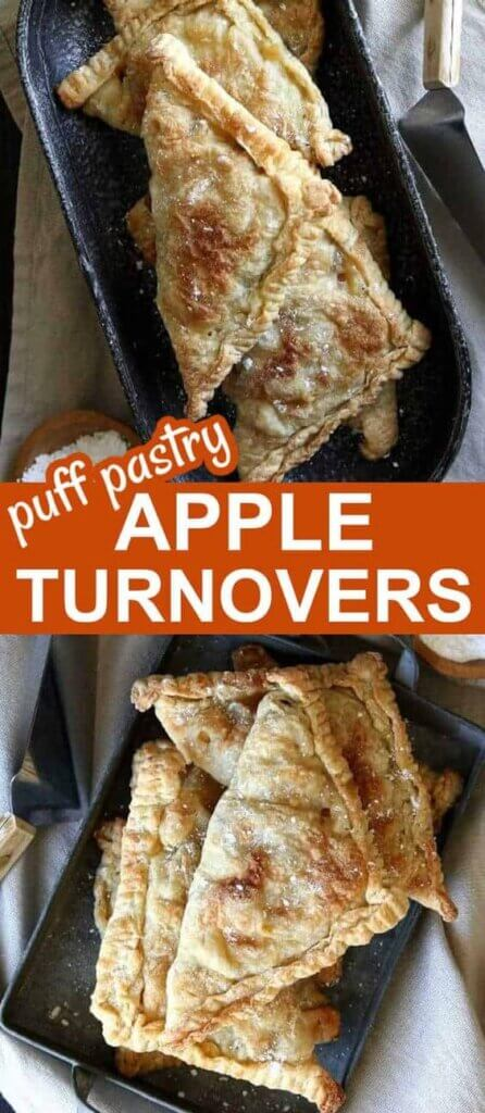 Two photos one above the other of triangles of apple turnovers stacked on top of each other at different angles.
