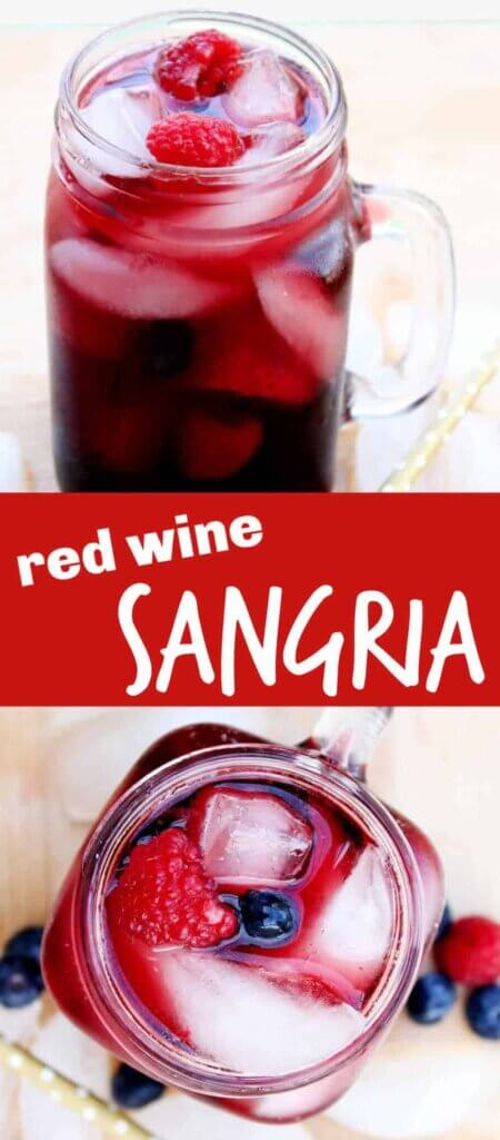 Two photos one above the other showing red berry sangria filling the glass along with ice and berries. Text in the center in red.