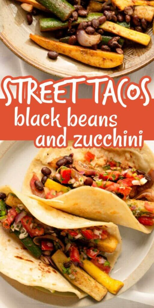 Two photos one above the other with Two open soft tacos showing black beans and zucchini with pico de gallo.