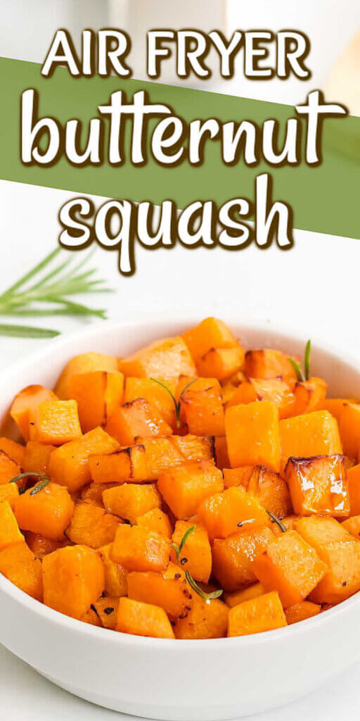 Tilted white bowl full of cubed butternut squash with text above.