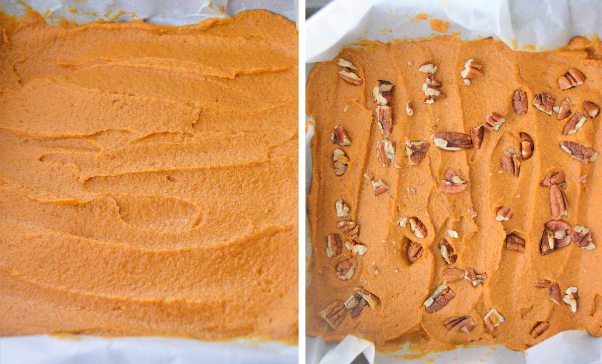 Two process photos showing spreading the fudge in a pan & sprinkled with pecans.