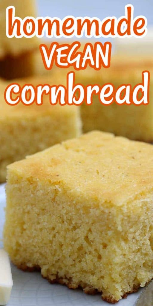 One closeup cropped vegan cornbread square with text above in orange.