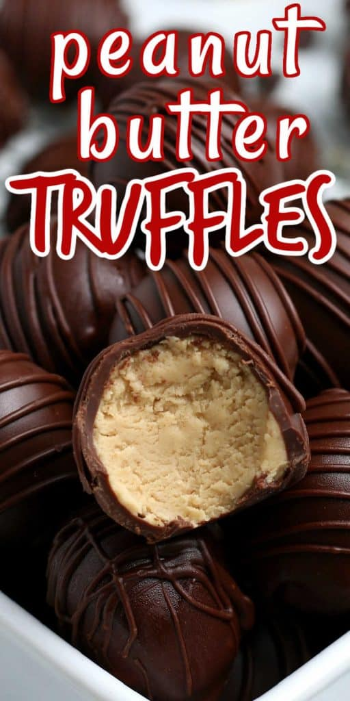Close up photo of peanut butter truffles with text above in red.