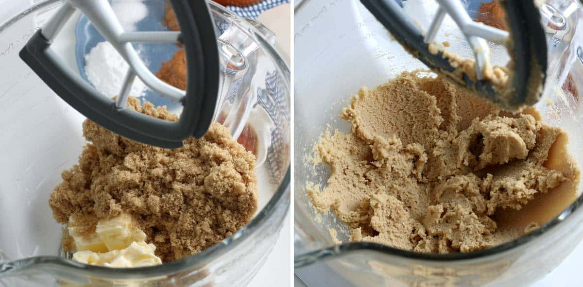 Two process photos showing sugar and butter before and after creamed.