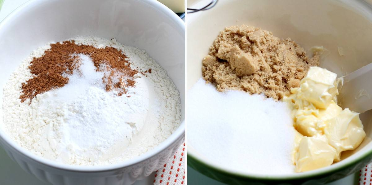 Two process photos showing the dry ingredients and sugars in separate bowls.