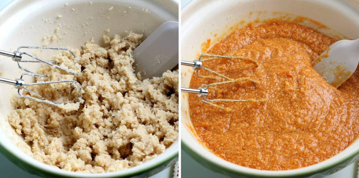 Two process photos showing mixed sugars, butter and then added banana and puree.