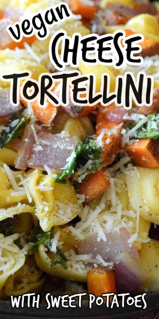 Vegan cheese tortellini with text above and below.