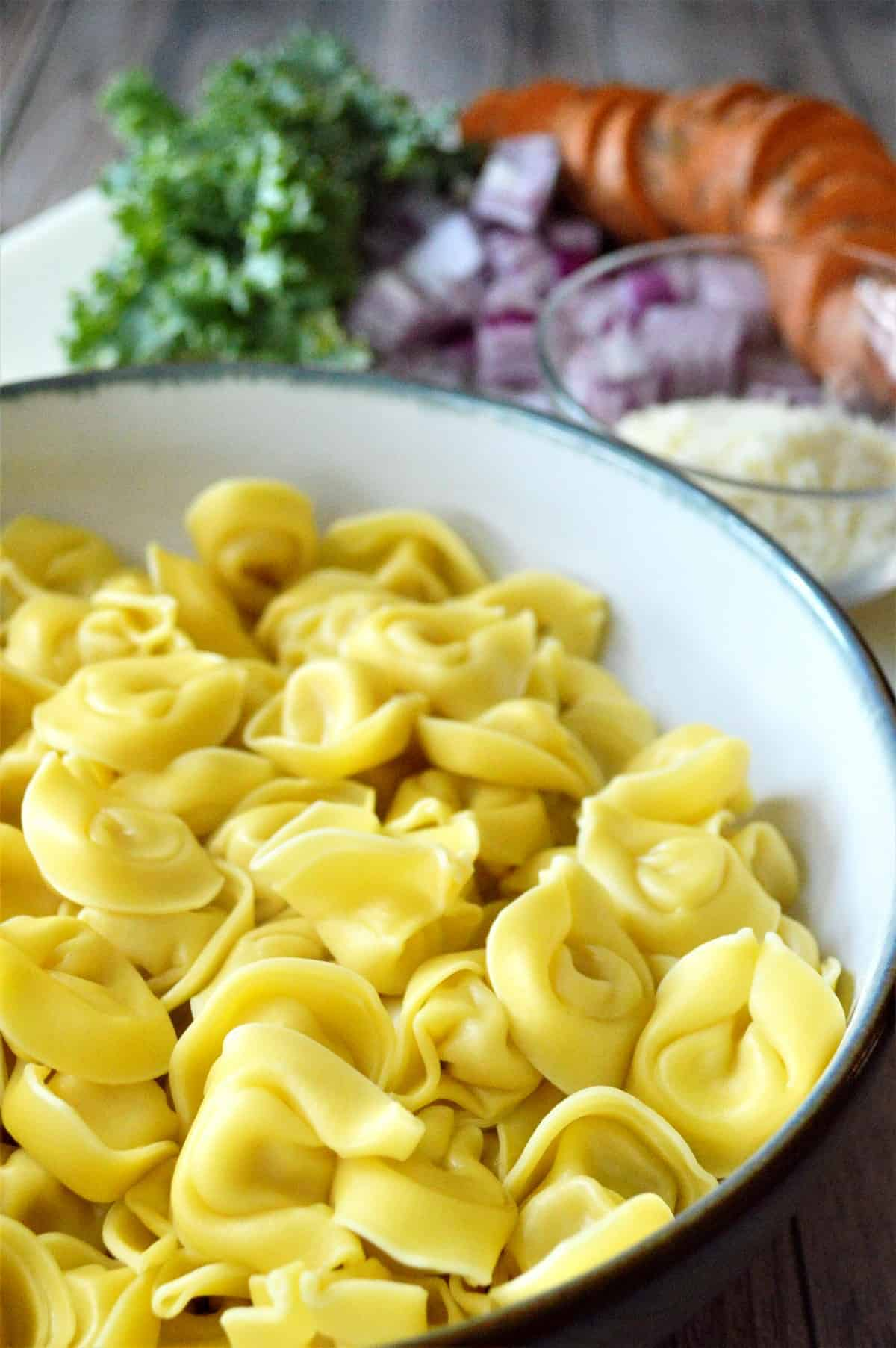 Close up of cooked vegan cheese tortellini with fresh vegetables behind.