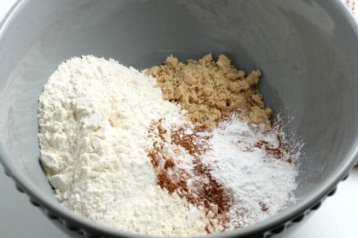 Bowl filled with all of the dry ingredients for the batter.