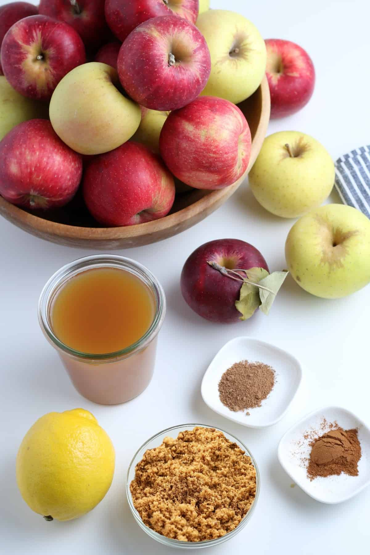 All of the ingredients to make homemade applesauce.