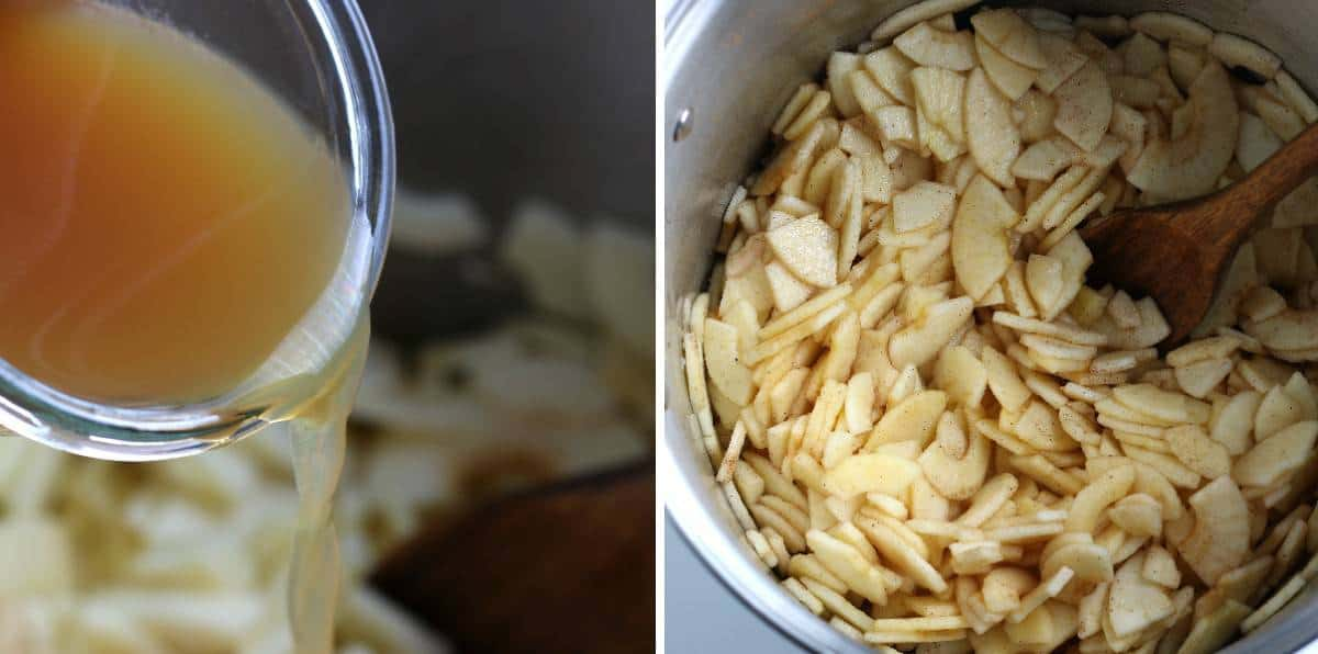 Two process photos showing pouring juice into sliced apples.