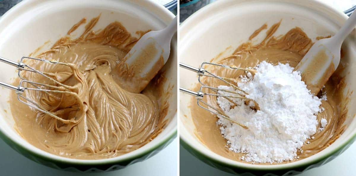 Two process photos showing creamy peanut butter and also adding powdered sugar.