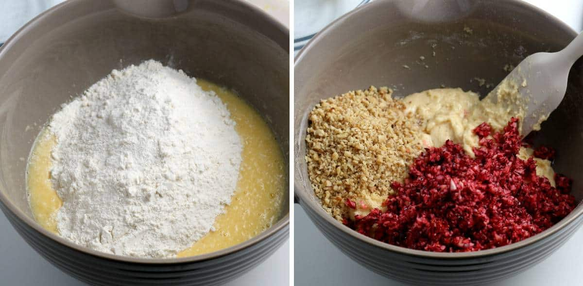 Process photos showing dry ingredients being added to wet and cranberries and nuts to batter.