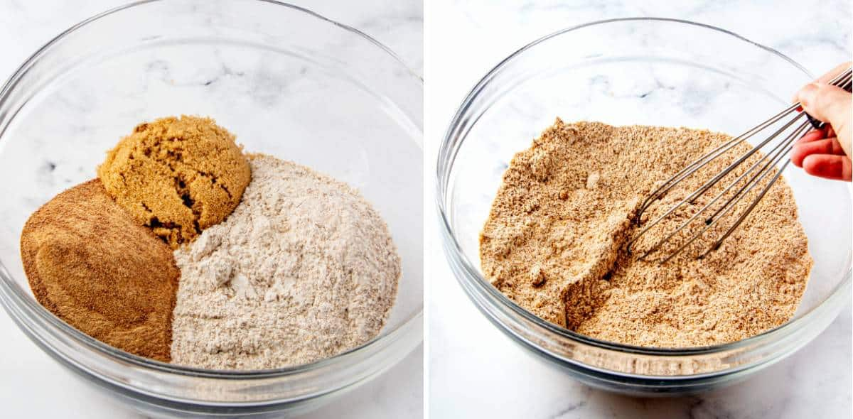 Two process photos of the dry ingredients being measured and stirred.