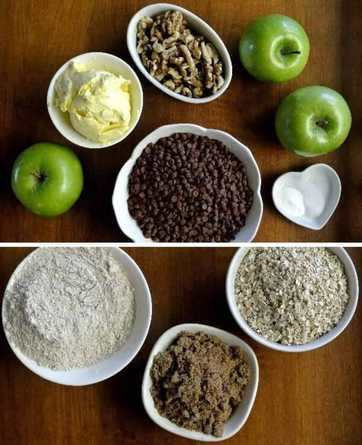 Overhead photo of all of the ingredients in their own small bowls.